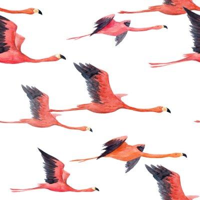 Fotomural Padrão de flamingo aquarela