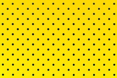 Fotomural Padrão de papel de parede pontos pretos em fundo de cor amarela