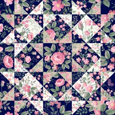 Fotomural Padrão de patchwork sem emenda com rosas