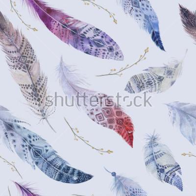 Fotomural Padrão de penas. Aquarela fundo elegante. Impressão de desenho orgânico de cor aquarela. Textura de boho sem costura com a mão desenhada papel de parede chique. Ilustração do pássaro.