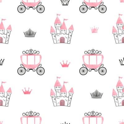 Fotomural Padrão de princesa sem costura com castelos, coroas e carruagens. Fundo do vetor.