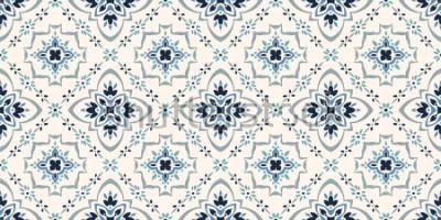 Fotomural Padrão de talavera. Azulejos portugal. Ornamento turco. Mosaico de azulejos marroquinos. Porcelana espanhola Utensílios de mesa cerâmicos, impressão popular. Cerâmica espanhola. Origem étnica. Papel