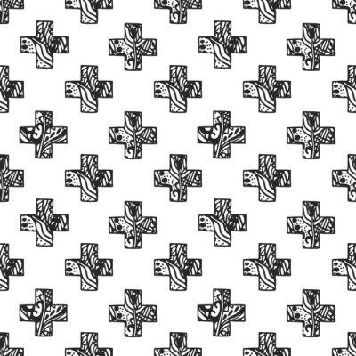 Fotomural Padrão escandinavo mínimo da cruz do estilo com textura da rede do openwork. Projeto preto e branco da cópia da tela da geometria.