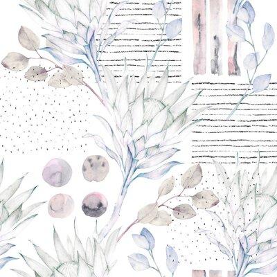 Fotomural Padrão floral sem costura. Ilustração abstrata da aguarela. Fundo grunge