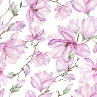 Fotomural Padrão floral sem emenda com magnólias pintados com aquarela sobre fundo branco