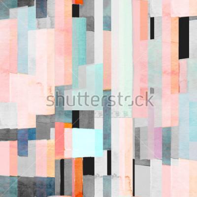Fotomural Padrão geométrico sem costura com listras multicoloridas e marrons. Fundo abstrato na moda.