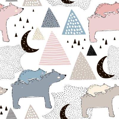 Fotomural Padrão infantil infantil com urso polar e bebê. Design infantil criativo. Perfeito para tecido, têxtil, warway, creche. Ilustração vetorial