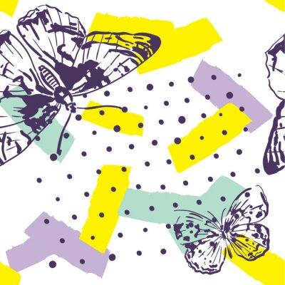 Fotomural Padrão repetido com insetos. Padrão de moda com estilo desenhado de borboletas na mão. Fundo para têxteis, fabricação, capas de livros, papéis de parede, impressão ou embrulho.