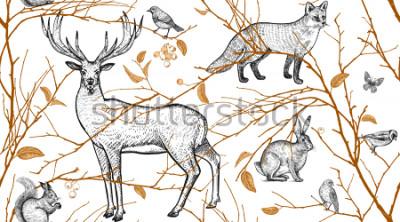 Fotomural Padrão sem alteração com galhos de árvores, animais da floresta e pássaros. Veado, raposa, lebre, esquilo. Arte de ilustração vetorial. Design natural para tecidos, têxteis, papel, papéis de parede. O