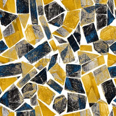 Fotomural Padrão sem alteração em aquarela abstrata. Obras de arte em estilo moderno geométrico. Contemporâneo. Vitral.