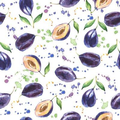 Fotomural Padrão sem costura com ameixa, fundo de fruta desenhada à mão, aguarela