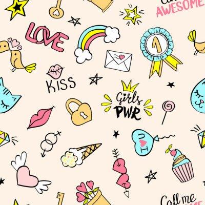 Fotomural Padrão sem costura com doodles femininos desenhados à mão. Repetindo fundo com elementos de design de esboço infantil para têxtil, papel de parede, scrapbooking.