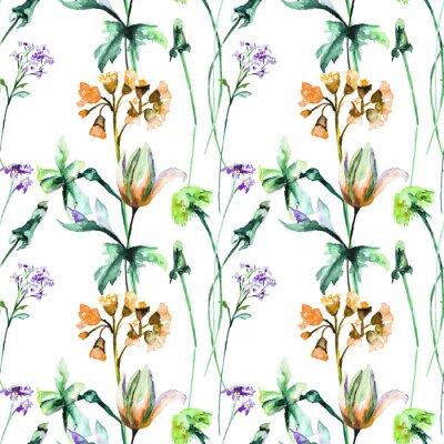 Fotomural Padrão sem costura com flores de verão originais