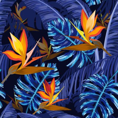 Fotomural Padrão sem costura com flores tropicais azuis