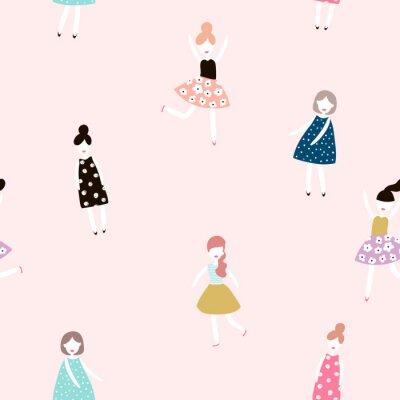 Fotomural Padrão sem costura com meninas de moda. Fundo de vetor plano de estilo moderno.