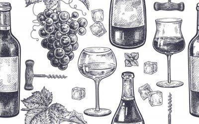 Fotomural Padrão sem costura com vinho bebendo.