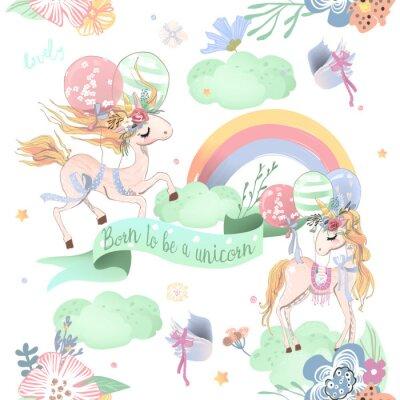 Fotomural Padrão sem costura dos unicórnios bonitos. Padrão infantil com unicórnios, flores, balões, nuvens e arco-íris