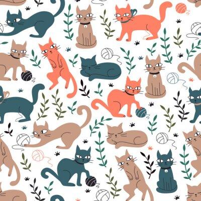 Fotomural Padrão sem emenda colorido com gatos e folhas.