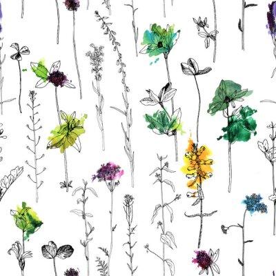 Fotomural Padrão sem emenda com desenho de ervas e flores