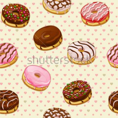 Fotomural Padrão sem emenda com donuts saborosos coloridos