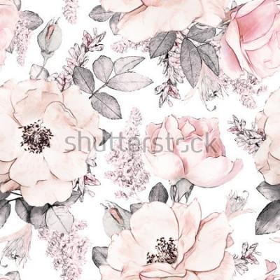 Fotomural Padrão sem emenda com flores cor de rosa e folhas no fundo branco, padrão floral em aquarela, flor rosa em cor pastel, tileable para papel de parede, cartão ou tecido