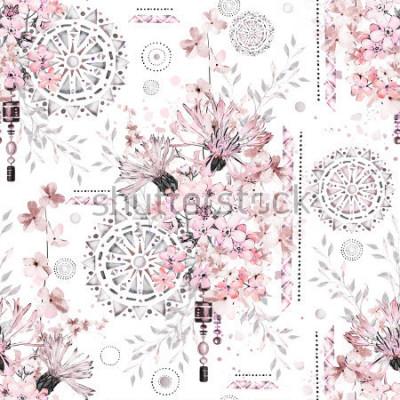 Fotomural padrão sem emenda com flores em aquarela e ornamentos texturizados - mandala. Floral abstrato. Telha com flor selvagem do prado e ilustração geométrica.