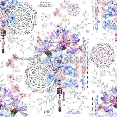 Fotomural padrão sem emenda com flores em aquarela e ornamentos texturizados - mandala. Floral abstrato. Telha com flor selvagem do prado e ilustração geométrica. Cornflowers, eu-não