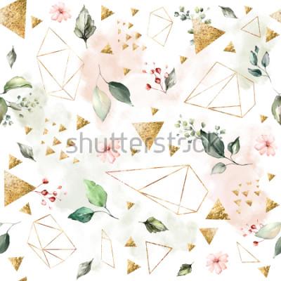 Fotomural Padrão sem emenda com folhas de primavera e flores. Mão ria fundo. padrão com forma poligonal geométrica. Telha botânica.