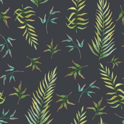 Fotomural padrão sem emenda com folhas tropicais em um fundo escuro