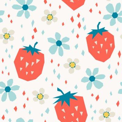 Fotomural padrão sem emenda com morangos e flores