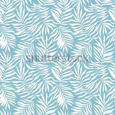 Fotomural Padrão sem emenda com palmeira tropical deixa. Bela impressão com mão desenhada plantas exóticas. Design botânico de banho. Ilustração vetorial