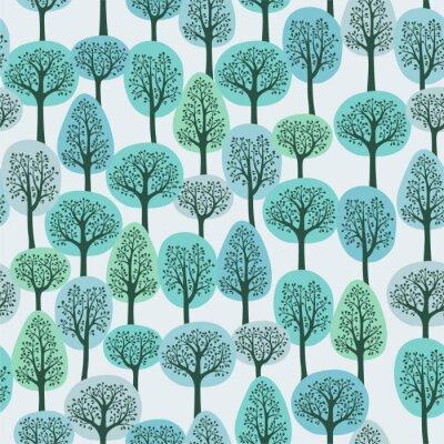 Fotomural padrão sem emenda com uma floresta do inverno