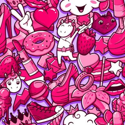 Fotomural Padrão sem emenda de graffiti com rabiscos de estilo de menina. De fundo Vector com elementos de louco poder menina infantil. Colagem linear na moda do estilo com ícones estranhos da arte da rua.