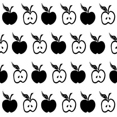 Fotomural Padrão sem emenda de maçã branca preta