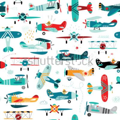 Fotomural padrão sem emenda de meninos de aviões