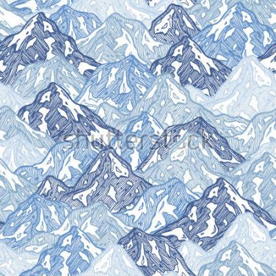 Fotomural Padrão sem emenda de montanhas. Ilustração abstrata das montanhas do divertimento Ilustração vetorial