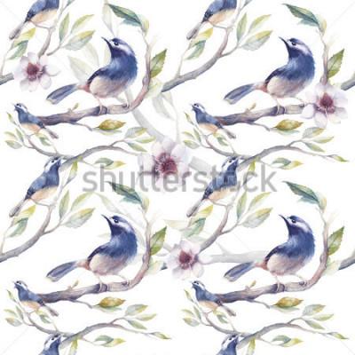 Fotomural Padrão sem emenda de primavera aquarela com galhos de árvores, flores e folhas. Molde botânico pintado à mão com papel de parede com fundo branco. Textura natural do vint