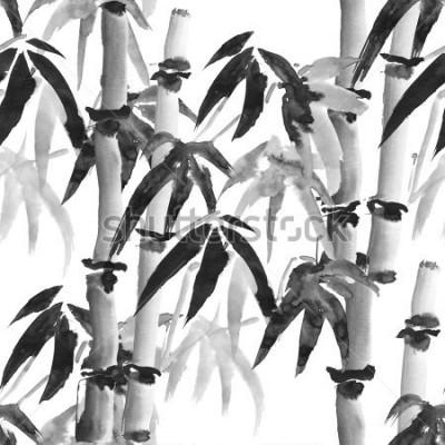 Fotomural padrão sem emenda de tinta com bambu sem estilo japonês em torno de fundo branco