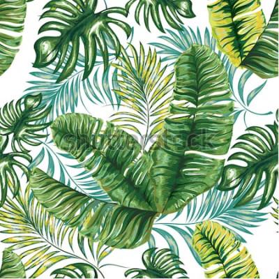 Fotomural Padrão sem emenda de uma palmeira tropical, folhas da selva e flores. Desenho à mão. Teste padrão floral vetor.