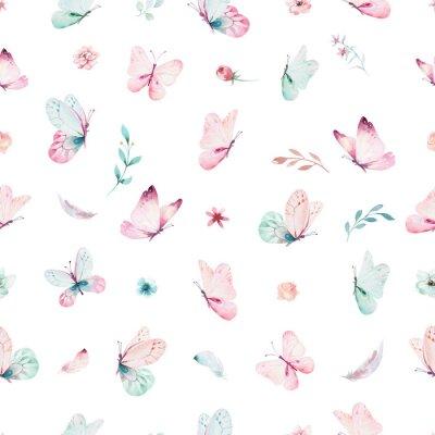 Fotomural Padrão sem emenda de unicórnio aquarela bonito com flores. Padrões de unicórnio mágico de berçário. Textura de arco-íris de princesa. Cavalo cor-de-rosa na moda do pônei dos desenhos animados.