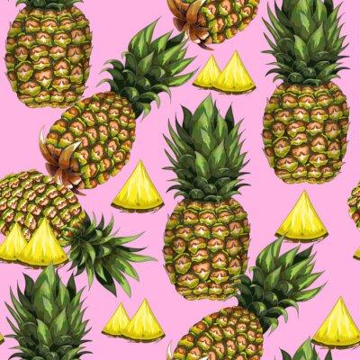 Fotomural Padrão sem emenda de verão com abacaxi desenhado à mão em um fundo rosa. Ilustração do vetor.