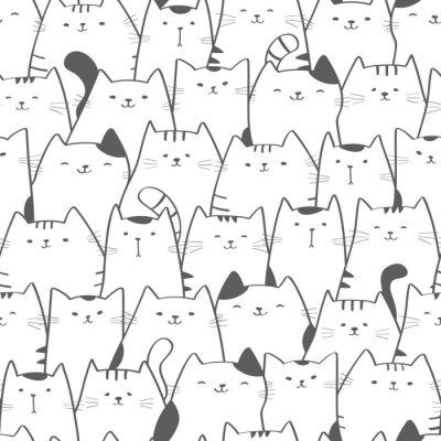 Fotomural Padrão sem emenda de vetor com gatos bonitos. Doodle art. Gato desenhado à mão sem costura de fundo