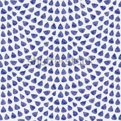 Fotomural Padrão sem emenda de vetor com layout de escala de peixe. Elementos em forma de gota azul com textura aquarela sobre fundo cinza claro