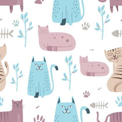 Fotomural Padrão sem emenda Gato bonito com desenhos animados de mão desenhada