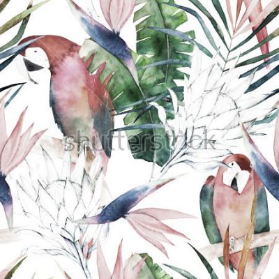 Fotomural Padrão sem emenda tropical com papagaios, protea e folhas. Impressão de verão em aquarela. Ilustração exótica mão desenhada