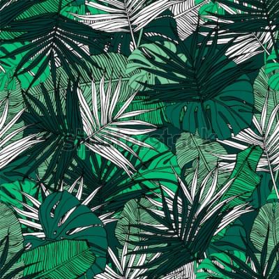 Fotomural Padrão sem emenda tropical. Entregue a ilustração desenhada com folhagem de plantas tropicais. Textura com banana folhas, palm e monstera. Desenho vetorial de verão.