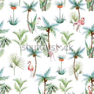 Fotomural padrão tropical aquarela, palmeiras e flamingos fundo branco