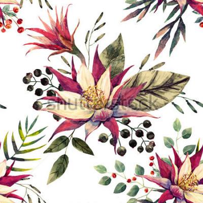 Fotomural padrão tropical em aquarela, flor de cacto, bagas preto e branco, folhas de palmeira, cores retrô