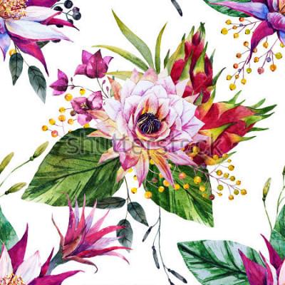 Fotomural padrão tropical em aquarela, flor de cacto, México, fruta do dragão, bagas amarelas