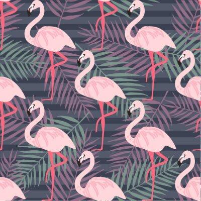 Fotomural Padrão tropical moderno sem costura com flamingo rosa, abacaxis, folhas tropicais. Fundo da praia. Paraíso Tropical